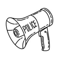Portable Police Megaphone Icon. Doodle Hand Drawn or Outline Icon Style vector