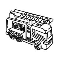 Fire Engine Icon. Doodle Hand Drawn or Outline Icon Style vector