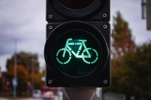 Bicycle traffic light Urban concept and road traffic directions photo
