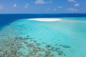 Maldives island amazing nature scenery, sea coral reef the white sand sandbank, island. Snorkeling destination, boat trip, stunning picturesque nature. Summer ocean horizon, turquoise lagoon photo