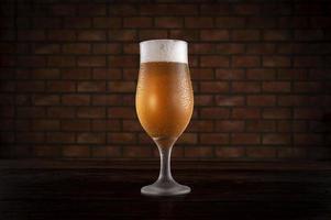 Isolated sweaty tulipa glass of refreshing pilsen draft beer with brick wall background. photo