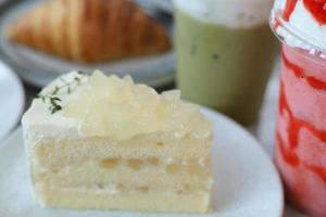 Coconut cake with coconut jelly on top photo