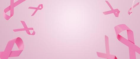 Breast Cancer Awareness Month Pink Ribbon symbol on pink background with copy space. 3D Render Illustration. photo