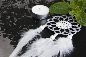 Gray white crochet doily dream catcher photo