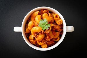 macaroni with tomatoes sauce and mince pork photo