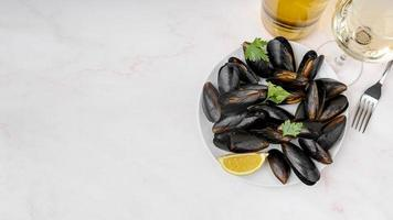 fresh mussels dish with copy space photo