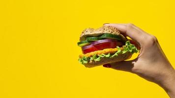 fresh burger delicious with meat veggie copy space photo