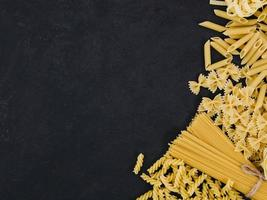 flat lay composition pasta with copyspace photo