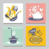 set of frying pan pot bbq grill kettle sketch style vector
