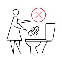 Do not flush sanitary towels in the toilet. Do not throw items down the lavatory. Woman flushing sanitary pad, prohibition sign. Stop pollution in the toilet. Editable stroke vector
