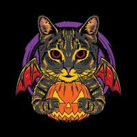 Halloween cartoon pumpkin cat vintage logo vector icon hand drawn illustration