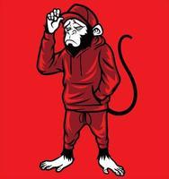 monkey wear sweatpants hat vector