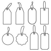 Price tags. Set of icons for sale or luggage. Vector outline labels illustration isolated on white background