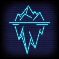 Iceberg neon icon in outline style. Vector illustration.