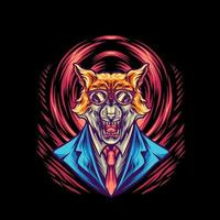 ilustración de la mafia del hombre lobo vector
