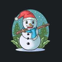 Cute Snowman Smiling Dabbing Celebrate Christmas Day vector