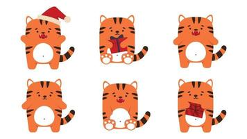 Set of cute little tigers cats in a flat style. Animal symbol for Chinese New Year 2022. An angry sullen orange tiger stands and sits with a fish. For a banner, childrens decor. Vector illustration.