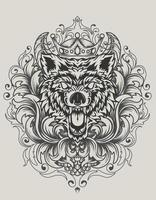 illustration vector angry wolf head with antique ornament