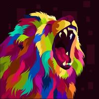 illustration colorful lion head with pop art style vector