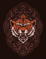 illustration tiger head with vintage engraving ornament vector