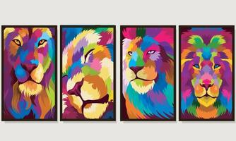 Set illustration colorful lion head with pop art style vector