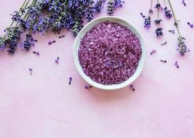 flat lay composition with lavender flowers and natural cosmetic photo
