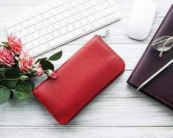 Red leather women wallet photo