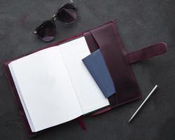 Burgundy  leather notebook photo