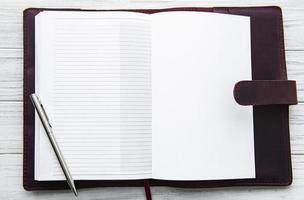 Open Leather notebook photo
