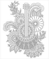 Guitar coloring page with ornaments and stylized flowers vector