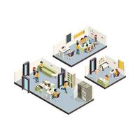 Coworking isometric corporate office interior open space creativity managers meeting groups freelancers talking low poly coworking layout open office corporate workplace illustration vector