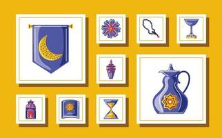set ramadan kareem with rosary kettle cup holy quran book icons vector