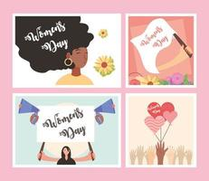 womens day, international celebration movement feminist activist vector