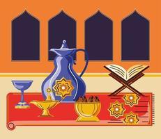 ramadan celebration arabic with quran book kettle food lantern vector