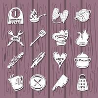 con iconos de cocina como espátula, tenedor, cuchara, cuchillo, rallador, olla, jarra vector