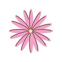pink flower nature delicate cartoon isolated style vector