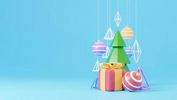 New Year and Christmas 3d design. Realistic gifts box, xmas fir tree, ball, candy and decorative elements holiday banner. 3d render image of christmas holiday photo