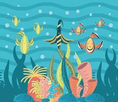 fishes coral reef bubbles sea life underwater world vector
