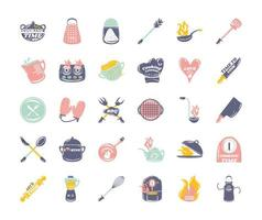 set for cooking utensils cutlery restaurant sketch icons vector