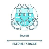 Boycott concept icon. Public demonstration, product sanctions, consumer activism idea thin line illustration. Protesters, activists with banner vector isolated outline drawing. Editable stroke
