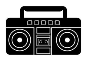 Boombox icon. Vector illustration of boombox in glyph style, solated on white background. Retro portable stereo radio cassette recorde
