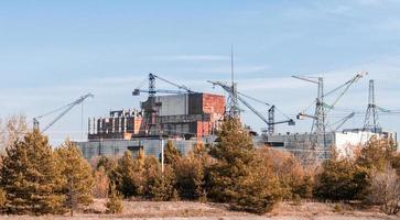 Pripyat, Ukraine, 2021 - Construction cranes in Chernobyl photo