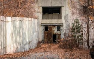 Pripyat, Ukraine, 2021 - Basement of an abandoned building in Chernobyl photo