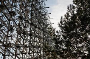 Pripyat, Ukraine, 2021 - Frame of a radio tower in Chernobyl photo