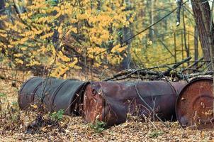 Pripyat, Ukraine, 2021 - Chemical barrels in Chernobyl photo