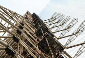 Pripyat, Ukraine, 2021 - Looking up at a radio tower in Chernobyl photo