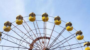 Pripyat, Ukraine, 2021 - Chernobyl Ferris wheel against the sky photo