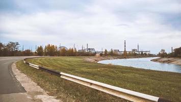 Pripyat, Ucrania, 2021 - Vista de la planta de energía nuclear de Chernobyl foto