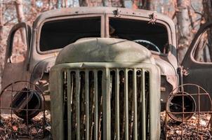 Pripyat, Ukraine, 2021 - Old rusty truck in Chernobyl photo