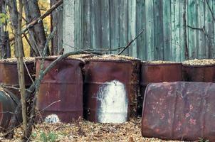 Pripyat, Ukraine, 2021 - Old metal barrels in Chernobyl photo